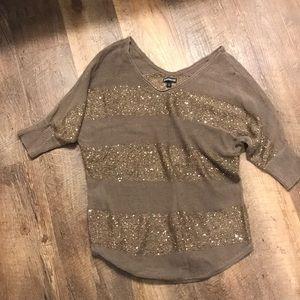 Brown 3/4 sleeve sequin sweater